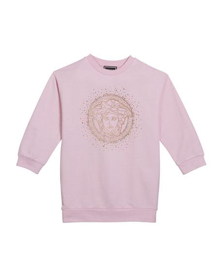 Versace Girl's Sweatshirt Dress w/ Crystal Medusa Logo, Size 4-6