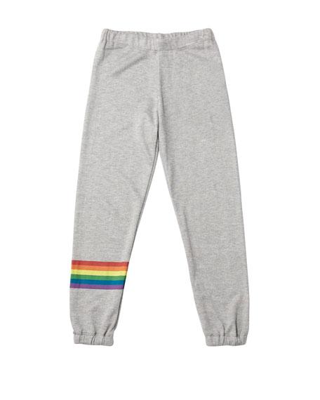 Flowers By Zoe Girl's Rainbow Stripe Sweatpants, Size S-XL