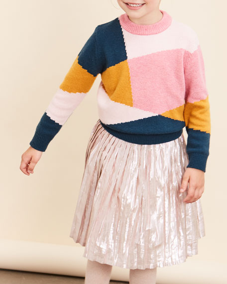 Velveteen Paola Metallic Pleated A-Line Skirt, Size 8-12