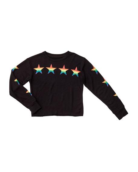 Flowers By Zoe Girl's Rainbow Star Print Pullover Sweatshirt, Size S-XL
