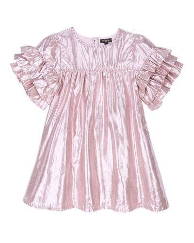 Girl's Ginny Frill Sleeve Metallic Dress  Size 4-6