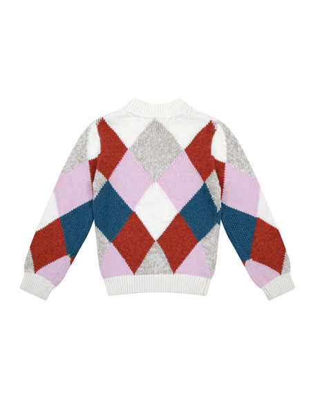 Velveteen Meredith Multicolored Argyle Knit Sweater, Size 6-8