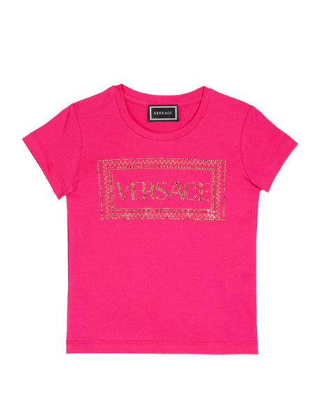 Versace Girl's Studded Logo T-Shirt, Size 4-6