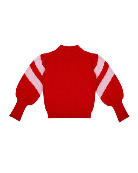 Velveteen Stella Mock-Neck Balloon-Sleeve Sweater, Size 6-8