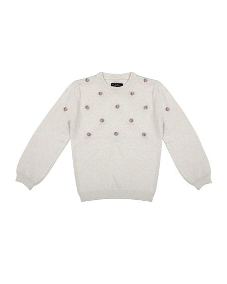 Velveteen Girl's Hazel 3D Pompom Sweater, Size 8-12