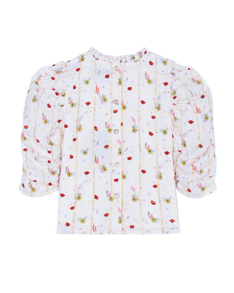 Velveteen Dionne Floral Windowpane Ruched-Sleeve Button-Back Top, Size 8-12