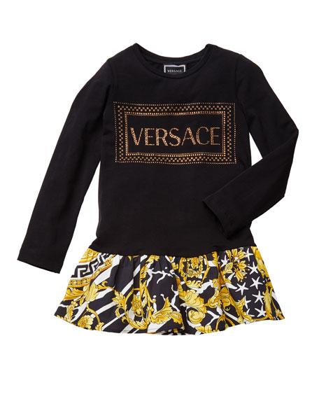 Versace Girl's Long-Sleeve Logo Dress w/ Barocco Print Skirt, Size 4-6
