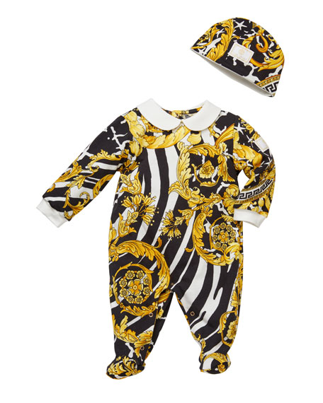 Versace Barocco Print Footie Pajamas w/ Matching Baby Hat, Size 0-9 Months