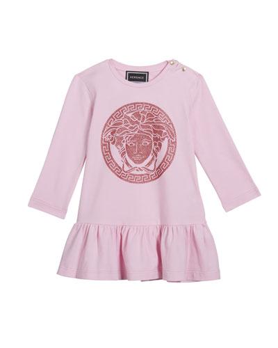 Girl's Long-Sleeve Dress w/ Glitter Medusa Logo  Size 12M-3
