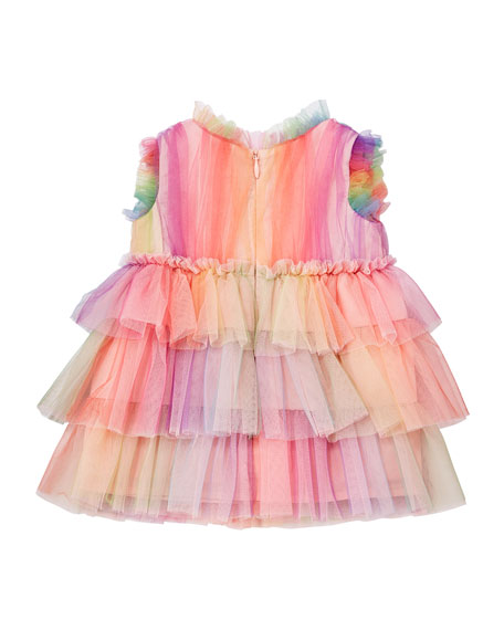 Charabia Rainbow Tulle Ruffle Dress, Size 6-24 Months