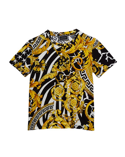 Boy's Barocco Print Short-Sleeve T-Shirt  Size 8-14