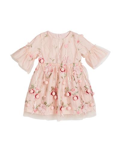 3D Flower Pompom Embroidered Dress, Size 12-24 Months
