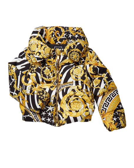 Versace Girl's Barocco Print Puffer Coat, Size 8-14