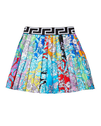 Girl's Pastel Barocco Print Pleated Skirt, Size 4-6