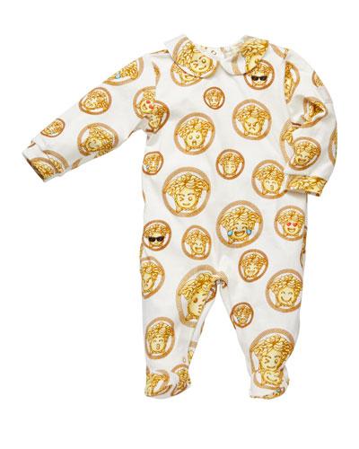Medusa Emoji Print Footie Pajamas  Size 0-9 Months