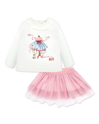 Girl's Ruffle Trim Graphic Tee w/ Tulle Skirt  Size 6-36 Months