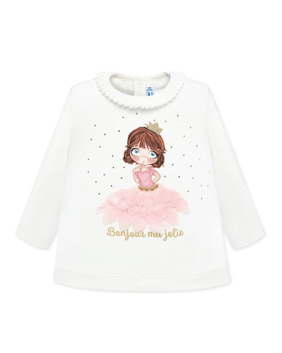 Girl's Long-Sleeve 3D Petals Graphic Tee, Size 6-36 Months