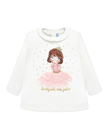 Mayoral Girl's Long-Sleeve 3D Petals Graphic Tee, Size 6-36 Months