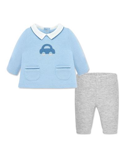 Boy's Knit Car Applique Top w/ Ribbed Leggings  Size 2-12 Months