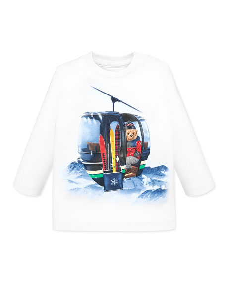 Mayoral Boy's Ski Lift Bear Long-Sleeve Tee, Size 12-36 Months