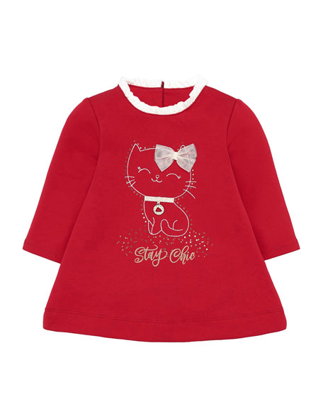 Mayoral Girl's Stay Chic Cat Graphic Dress, Size 6-36 Months