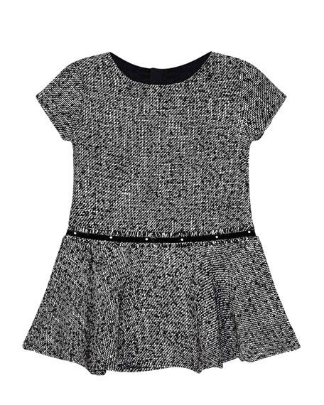 Mayoral Girl's Short-Sleeve Knit Dress w/ Faux Pearl Belt, Size 4-7