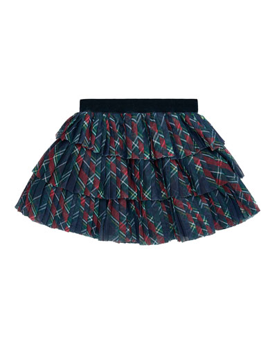 Girl's Pleated Plaid Tulle Skirt, Size 6-36 Months