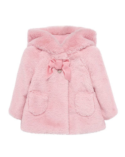 Girl's Faux Fur Long Hooded Coat  Size 6-36 Months