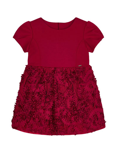 Girl's Floral 3D Lace Cap-Sleeve Dress  Size 4-7