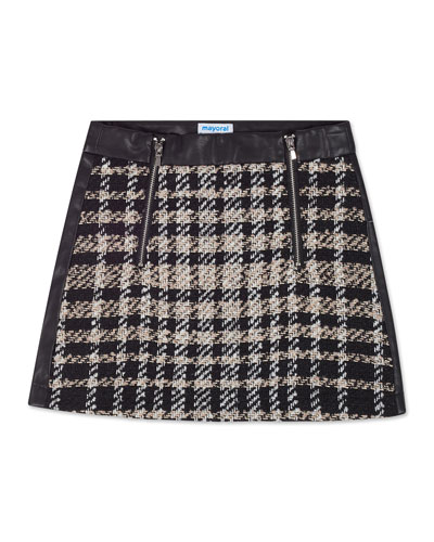 Girl's Check Tweed & Faux Leather Mini Skirt  Size 8-16