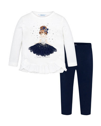 Girl's Sweet Dreams Graphic Tee w/ Leggings  Size 4-7