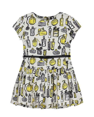 Girl's Perfume Bottle Print Dress w/ Belt, Size 4-7