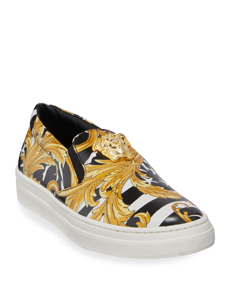 Versace Barocco Print Slip-On Sneakers, Big Kids