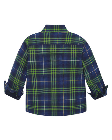Mayoral Boy's Fleece Lined Plaid Shirt, Size 4-8