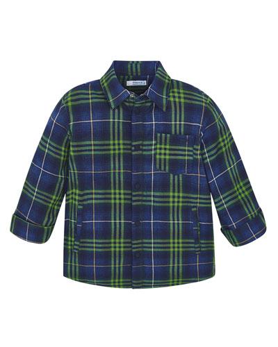 Boy's Fleece Lined Plaid Shirt  Size 4-8
