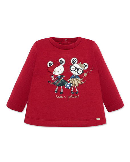 Mayoral Girl's Take A Picture Mice Graphic Sweater, Size 6-36 Months