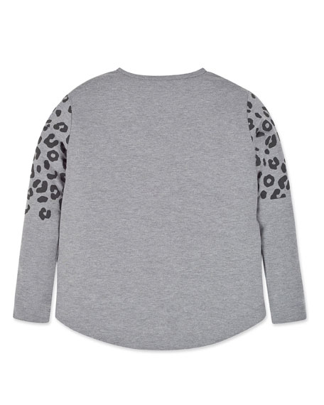 Mayoral Girl's Sorry We Are Cool Leopard Print Tee, Size 8-16