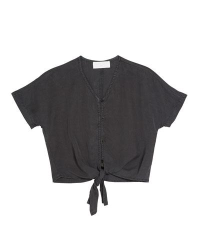 Kimono Sleeve Tie Front Shirt  Size 8-14