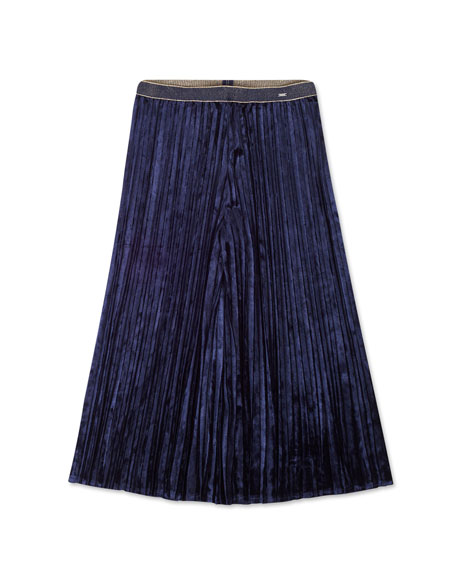 Mayoral Girl's Pleated Velvet Culottes Skort, Size 8-16