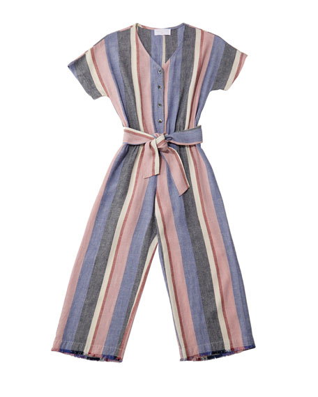 Bella Dahl Multi-Stripe Frayed Jumpsuit w/ Belted Waist, Size 8-14