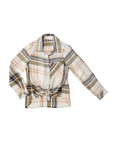 Frayed Tie-Front Plaid Shirt  Size 8-14