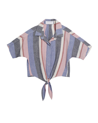 Multi-Stripe Tie-Front Shirt  Size 8-14