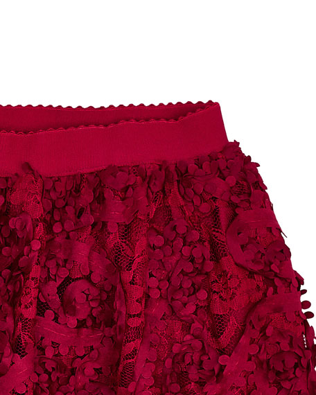 Mayoral Girl's Flower 3D Textured Lace Skirt, Size 4-7
