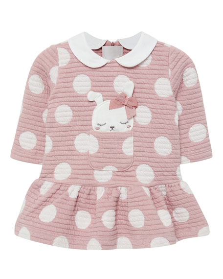 Mayoral Girl's Quilted Polka-Dot Dress w/ Dog Applique, Size 2-12 Months