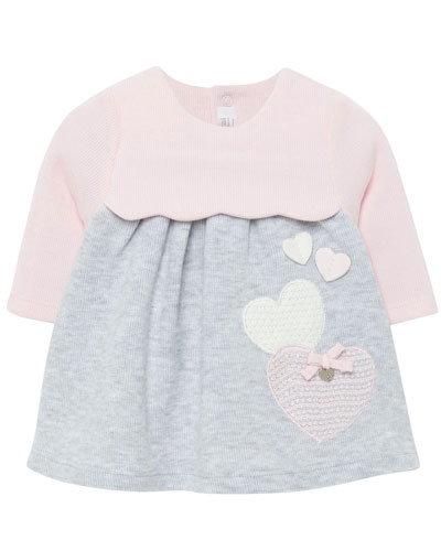 Girl's Two-Tone Knit Hearts Dress  Size 2-12 Months