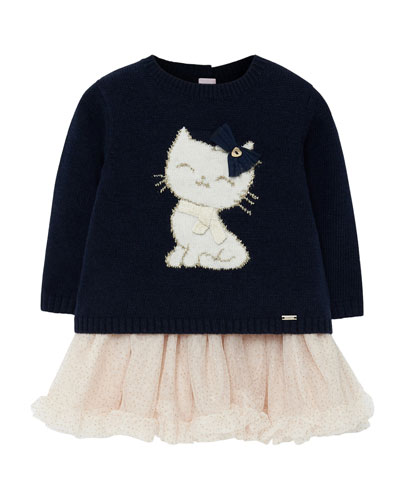 Girl's Cat Knit Sweater Dress w/ Tulle Skirt  Size 6-36 Months
