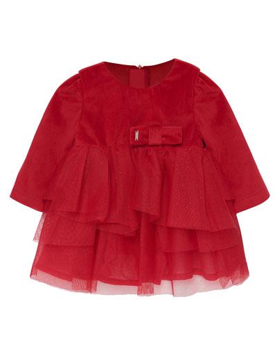Girl's Tulle & Velvet Long-Sleeve Dress  Size 6-36 Months