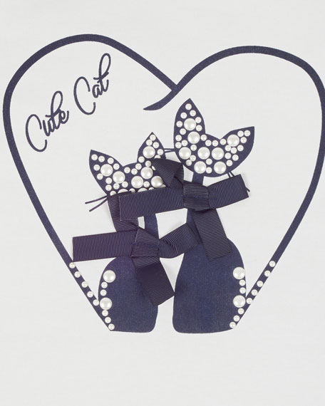 Mayoral Girl's Cute Cat Beaded Tee, Size 8-16