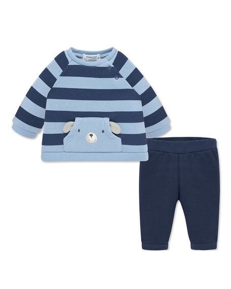 Mayoral Boy's Striped Plush Sweatshirt w/ Solid Sweatpants, Size 2-12 Months