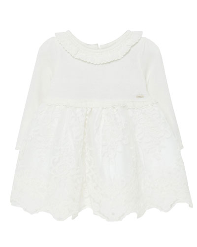Girl's Long-Sleeve Tulle Embroidered Dress  Size 6-36 Months